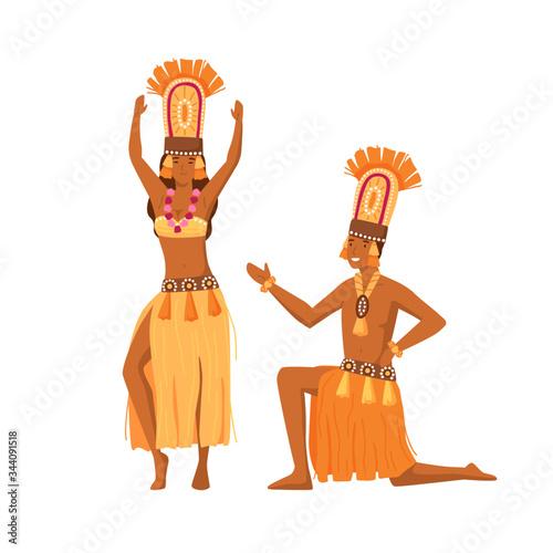 Photo Smiling cartoon aboriginal man and woman dancing together vector flat illustration