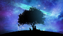 Girl Watching The Stars In Night Sky Fantasy Landscape Illustration