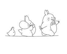Contour Vector Totoro.  Coloring Page Totoro. Contour Sketch Colorless.