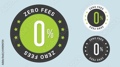 Fotografía Zero Fees stamp vector illustration with euro sign