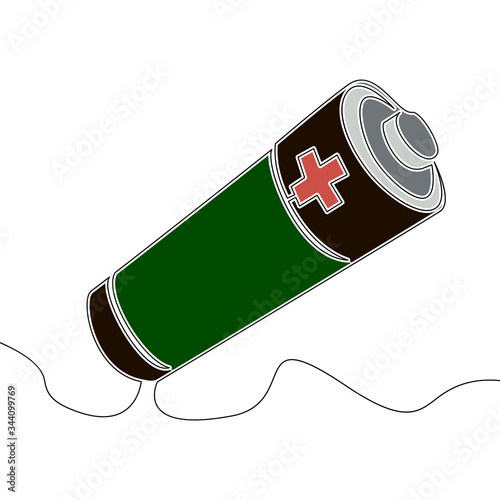 Photo Flat continuous line art Battery accumulator