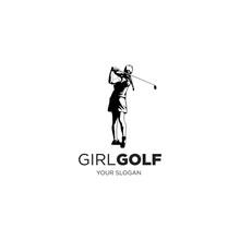 Woman Playing Golf Logo