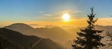 Montagne, Coucher De Soleil, P...