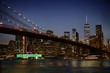View of night scene of the Brooklyn bridge and Manhattan Skyline at Night