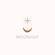 Boho Logo Design. Modern Moon ...
