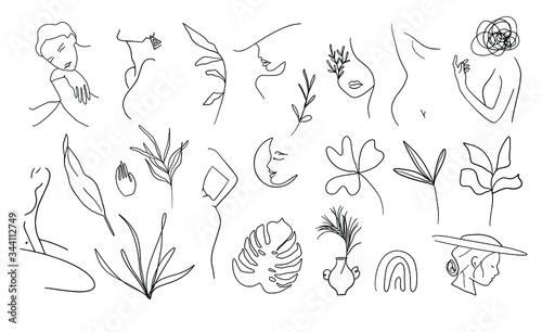 Obraz Woman Line Art Clipart.  Female Line Drawing Illustrations. Nude and Botanical Line Artwork. - fototapety do salonu