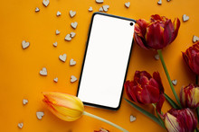 Phone Mockup With Tulip Flower...