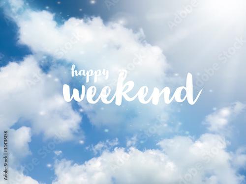 Fotografie, Obraz Happy weekend word on sparkle blue sky background