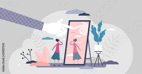 Photo Self absorption concept, flat tiny person vector illustration