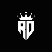 RD Logo Monogram Emblem Style With Crown Shape Design Template