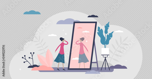 Self absorption concept, flat tiny person vector illustration Canvas Print