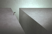 Man On The Edge Afraid Of Jumping Onto The Other Side
