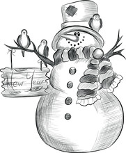 Cute Christmas Snowman In Hat And Scarf Black And White Sketch