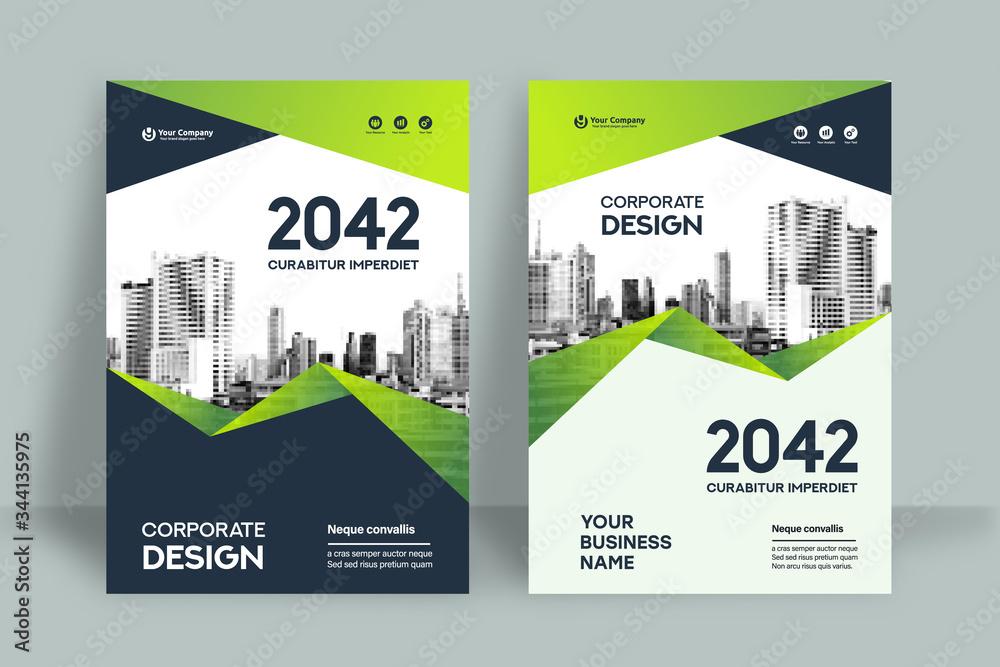 Fototapeta City Background Business Book Cover Design Template