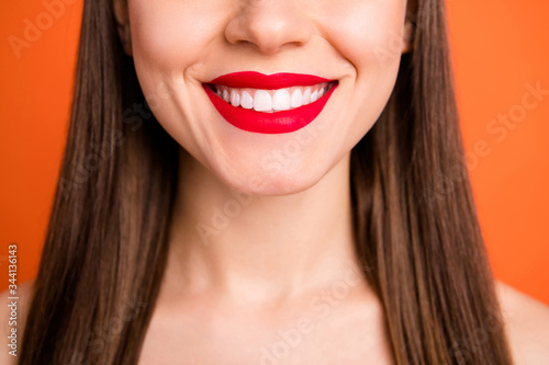 Closeup cropped photo of attractive lady bright red pomade amazing celebrity smi Tableau sur Toile