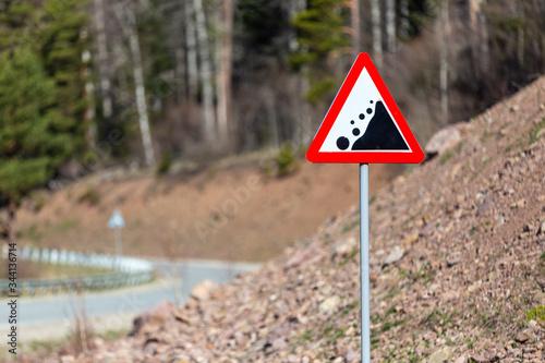 Fototapeta Warning Road Sign Caution Rockfall