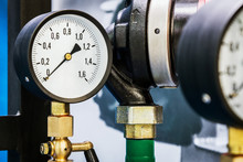 High Pressure Gauges Installed On A Water Or Gas System