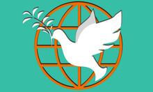 White Dove And Globe Icon Sign...