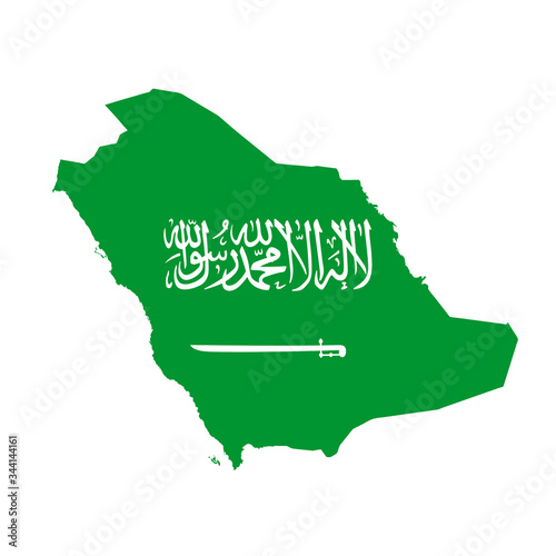 Saudi Arabia flag map. Country outline with national flag Canvas Print