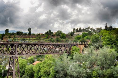 Fotografia, Obraz puente de metal entre naturaleza en un dia lluvioso con un cielo gris