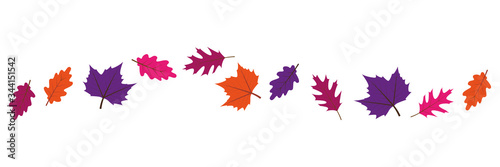 Fototapety, obrazy: set of colorful autumn leaves in the wind on white background vector illustration EPS10