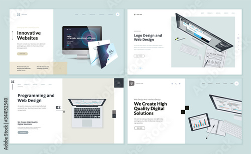 Obraz Set of flat design web page templates of web and logo design, programming, startup, business services. Modern vector illustration concepts for website and mobile website development.  - fototapety do salonu