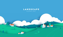 Colorful Mountain And Village Paper Cut Style Background. Farm With House, Clouds And Trees. Vector Illustration