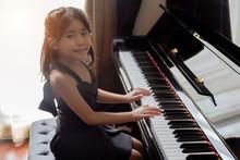 Asian Girl Kids Playing Piano ...
