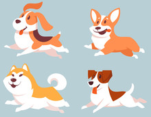 Set Of Running Dogs. Cute Pets...