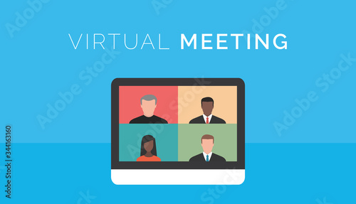 Virtual meeting. Computer screen with business videoconference Fotobehang