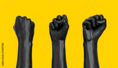 Fototapeta Black female Hand Fist set isolated, woman rights, protest, conflict or winner concept, Girl power creative banner. 3d illustration obraz