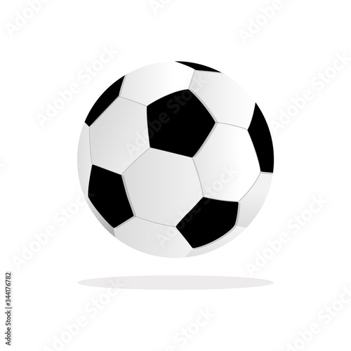 Soccer ball on white background. Football game sport for competition. Professional player object.