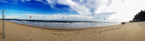 panoramic shot of the beach with sea
