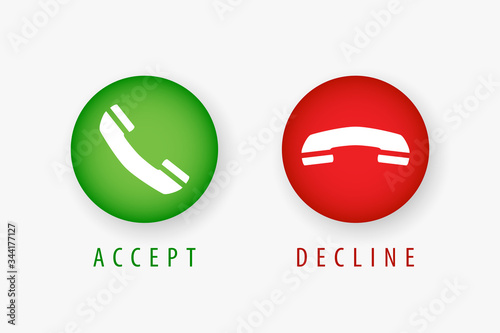 Accept and Decline phone call sign, symbol, icon Canvas Print