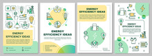 Energy Saving Ideas Brochure Template. Electricity Economy. Flyer, Booklet, Leaflet Print, Cover Design With Linear Icons. Vector Layouts For Magazines, Annual Reports, Advertising Posters