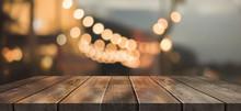 Empty Wood Table On Blur Resta...