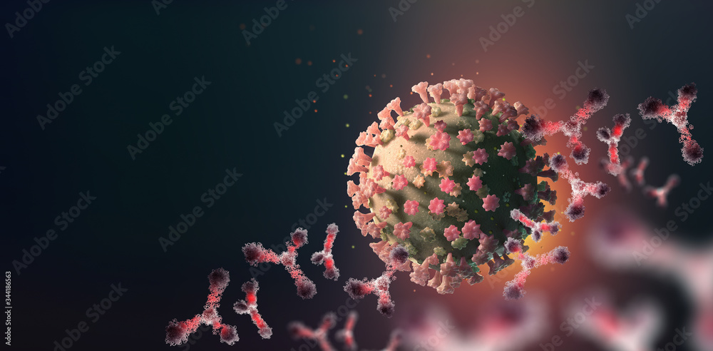 Virus under microscope. Antibodies and viral infection. Immune defense of body. Attack on antigens 3D illustration