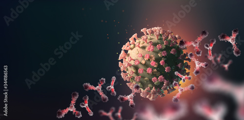 Fototapety, obrazy: Virus under microscope. Antibodies and viral infection. Immune defense of body. Attack on antigens 3D illustration