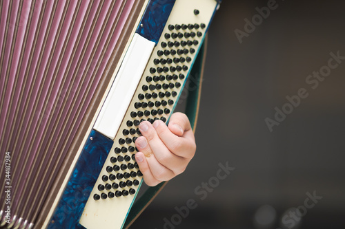 Accordion in the hands of a musician, close-up view Canvas Print