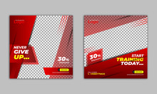 Gym And Fitness Square Banner ...