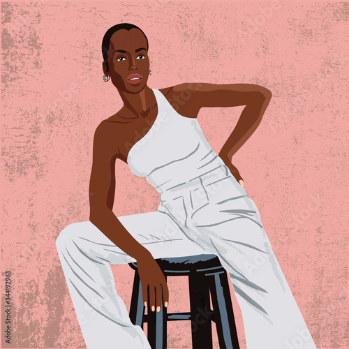 Photo black woman model appearance fashionable high chair long legs white suit