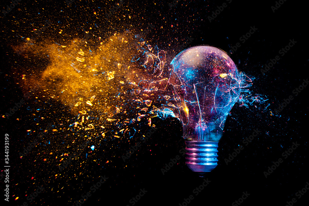 Fototapeta explosion of a traditional electric bulb. shot taken in high speed