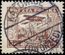 Katowice. Kasownik Pocztowy (1929 Dworzec) Odbity Na Znaczku Poczty Lotniczej