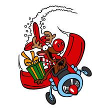 Santa's Reindeer With A Big Re...