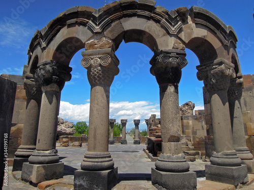 Close up view onto colonnade of ancient Armenian cathedral Zvartnotz located at edge of Vagharshapat (Etchmiadzin), Armenia Canvas Print
