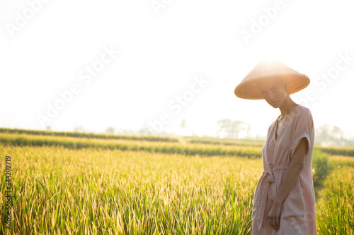 Beautiful girl in a rural hat collects rice from the field, view of the province of Asia Canvas Print