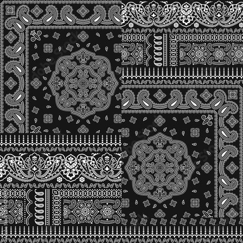 Fototapeta Paisley bandana fabric patchwork abstract vector seamless pattern