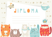 Diploma Template With Funny Ca...