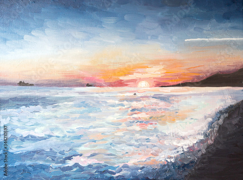 Fototapeta sunset on the sea oil paint. Paint on the canvas. obraz na płótnie