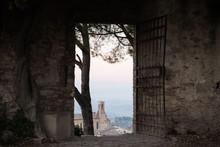 Open Metallic Entrance Gate Of Old Ruin